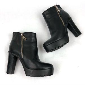 SCHUTZ Nena Platform Lug Black Leather Booties